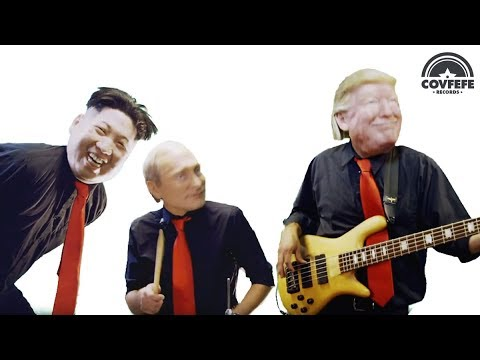 Donald Trump, Vladimir Putin and Kim Jong Un with Beldon Haigh in Fools Rules Music Video
