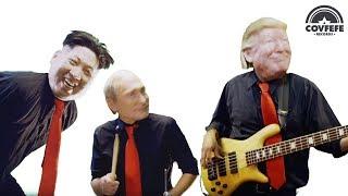 Donald Trump, Vladimir Putin and Kim Jong Un with Beldon Haigh in Fools Rules Music Video