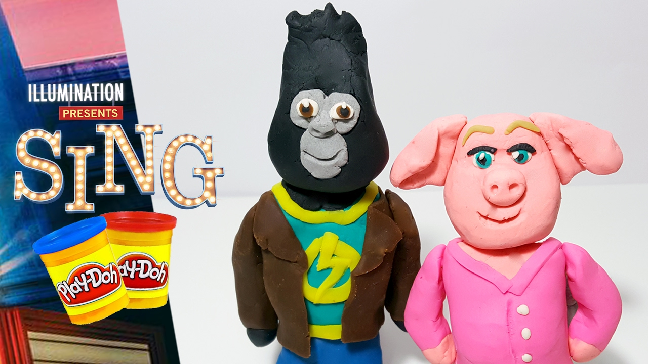 Sing Movie Johnny Gorilla And Rosita Pig Play Doh Figures -2349