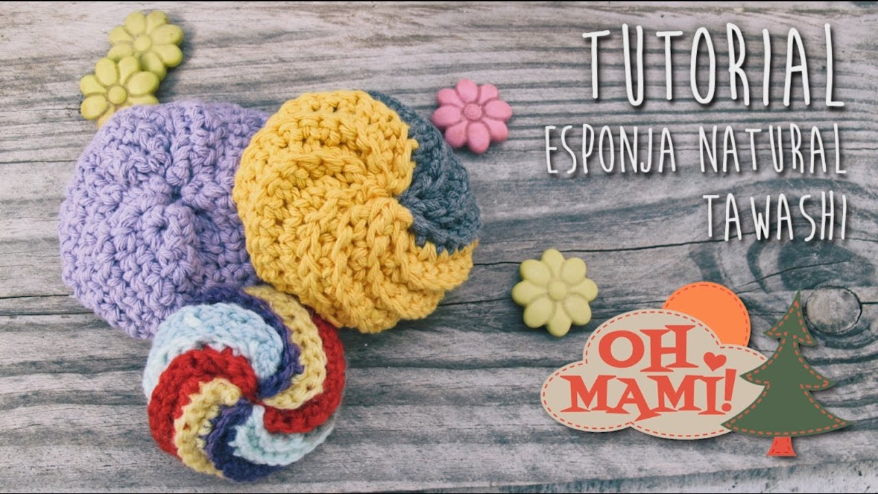 Esponja tawashi en espiral a crochet - YouTube