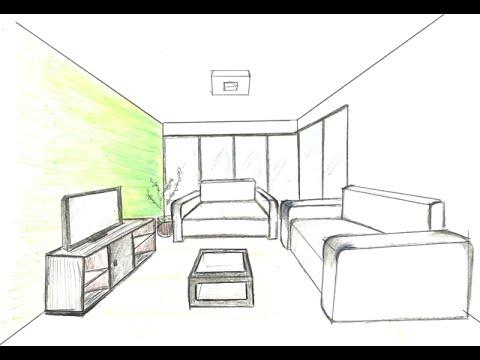 Como desenhar perspectiva interna youtube for Cama 3d dibujo