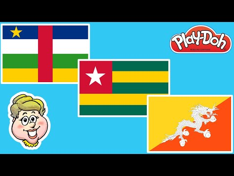 Play-Doh Flags! Central African Republic, Togo, and Bhutan! EWMJ #482