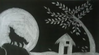 Charcoal Painting :- Landscape with stumping powder
