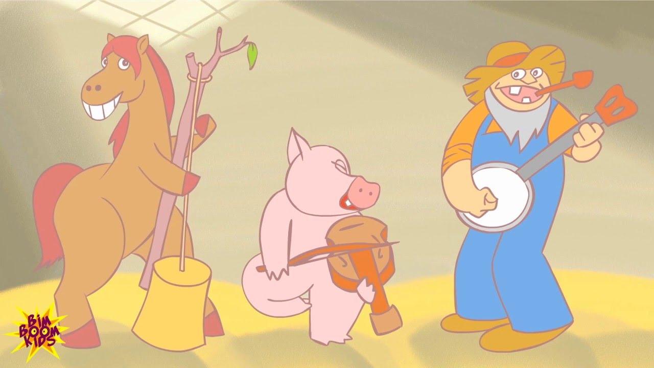 Cartone animato fattoria simpatici animali in fattoria rurale