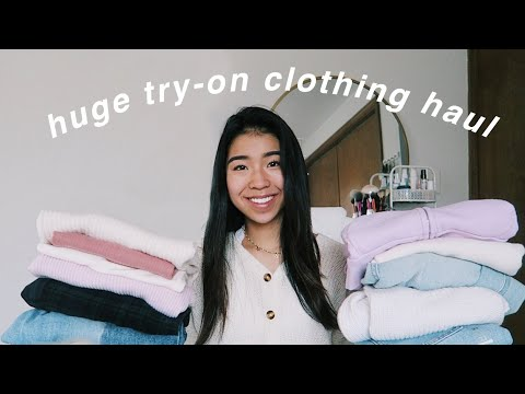 HUGE TRY-ON CLOTHING HAUL :) Brandy Melville, PacSun, Nike, Thrift + more!!