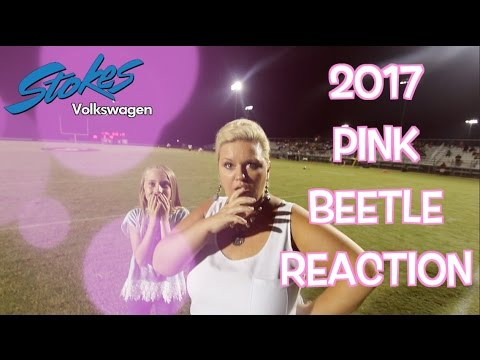 Reaction Video - 2017 Volkswagen PINK Beetle | Husband Surprising Wife at Football Game