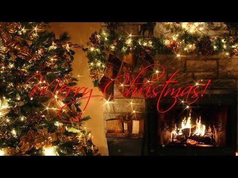 Merry Christmas Christmas Tree with Fireplace  Xmas Song HD 4k