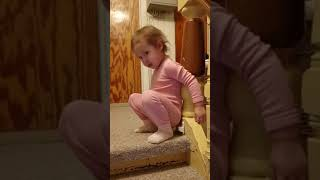 Toddler Pretends to Poop on Tiny Toilet - 1023159