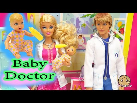 Dr. Ken + Barbie Doll Baby Doctors Office Visit Careers Playset Toy Video Cookieswirlc