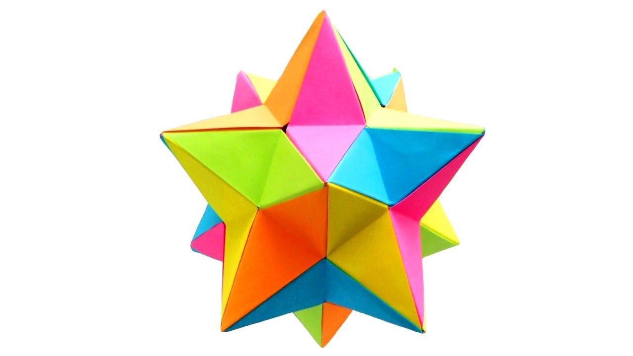 Оригами многогранник Малый звёздчатый додекаэдр из бумаги Meenakshi Mukerji