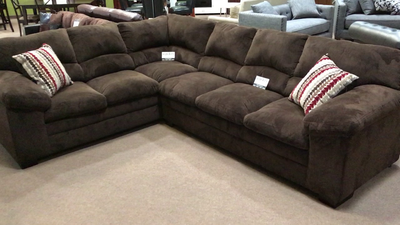 Simmons 8043 Chocolate Brown Ultra Plush Soft Seating Sectional Sofa