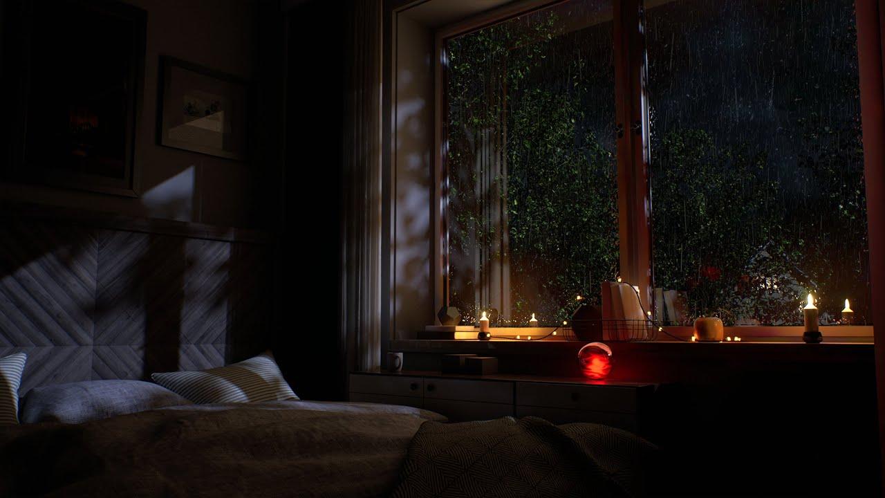 Download A Cozy Autumn Suburban Bedroom | Wind & Rain Sounds For Sleeping | Rain On Window | 4k | 8Hours