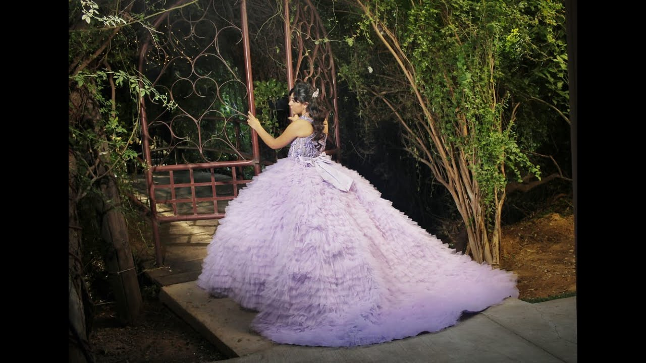 a1291adbafb vestido de xv años 2018 color lila(lavanda) con flores 3D - YouTube