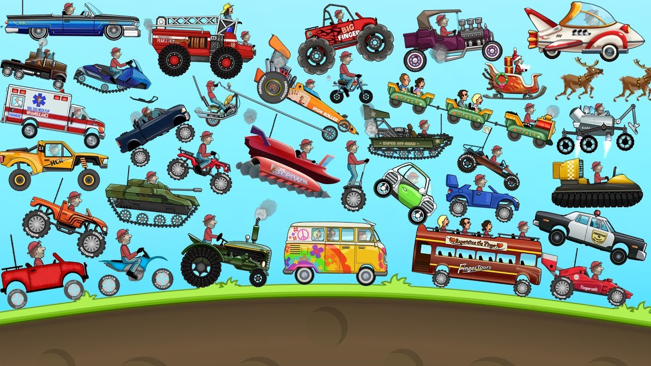 Hill Climb Racing – ALL VEHICLES UNLOCKED and FULLY UPGRADED Video Game