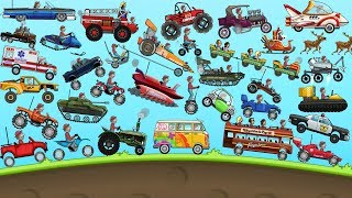 Hill Climb Racing - ALL VEHICLES UNLOCKED and FULLY UPGRADED Video Game For KIDS