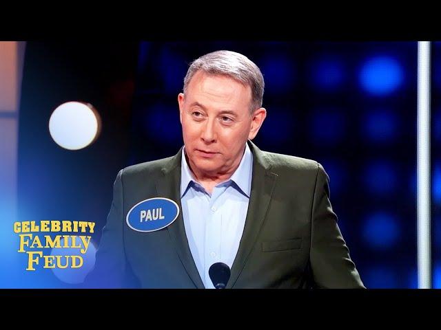 Pee-wee Herman's weird answer makes Steve Harvey do a double take on Celebrity Family Feud!