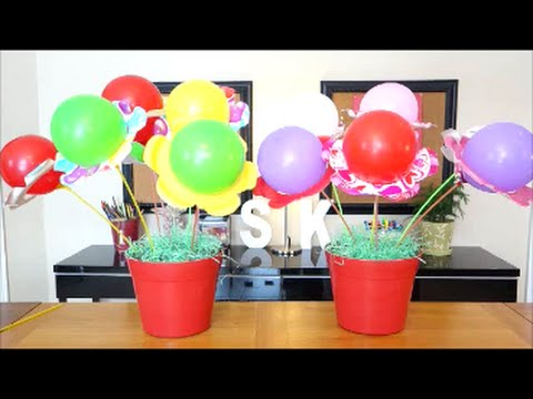 Diy party decorations ideas balloon flower bouquet for Balloon decoration for kids