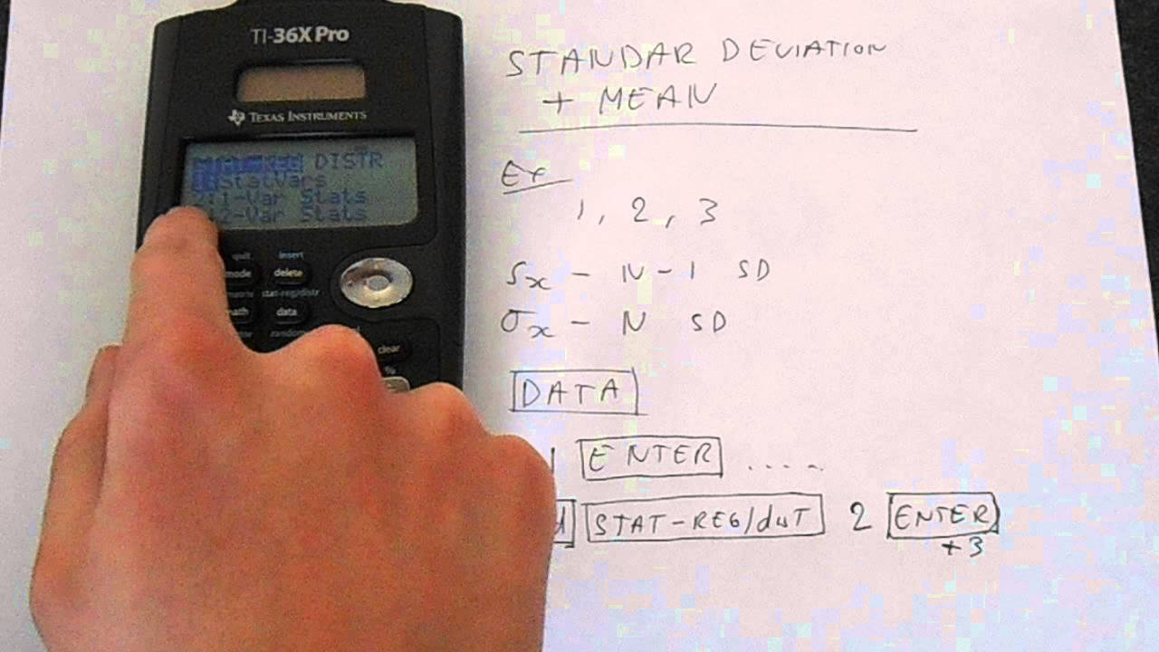 Ti 36x Pro Basic Statistics: Standard Deviation And Mean Tutorial