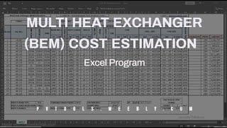 Multi Shell Tube Heat Exchanger BEM Estimation Spreadsheet