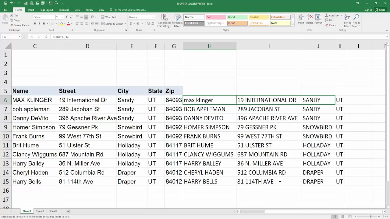 change case in excel 2016 without formula