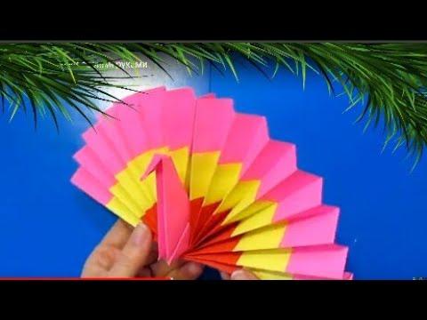 ИГРУШКА НА ЁЛКУ ЯРКИЙ ПАВЛИН бумаги своими руками/простые поделки детям/украшения идеи Новый год DIY