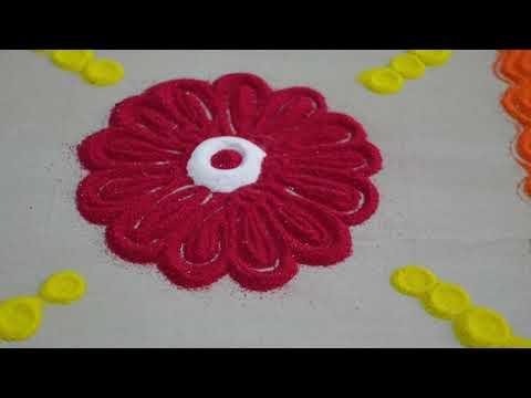 Simple rangoli design with fork/relaxing sand video/festival muggulu