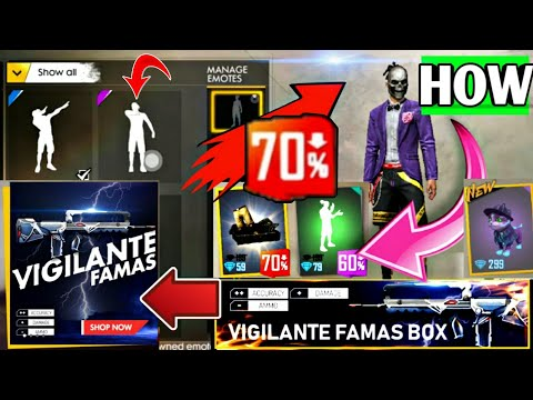 70% Discount Free Fire 😱, HOW TO MANAGE EMOTES 😎,  NEW FAMAS SKIN 🔥 NEW NIGHT PET SKIN