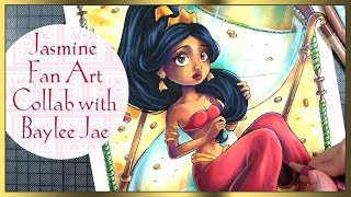Collaboration with Baylee Jae ♦ Disney Jasmine fan art Copic Marker and pencils Artwork ♦ By sakuems