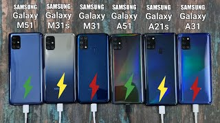 Samsung M51 vs M31s vs M31 vs A51 vs A21s vs A31 Battery Charging Test | Fast Charging Test