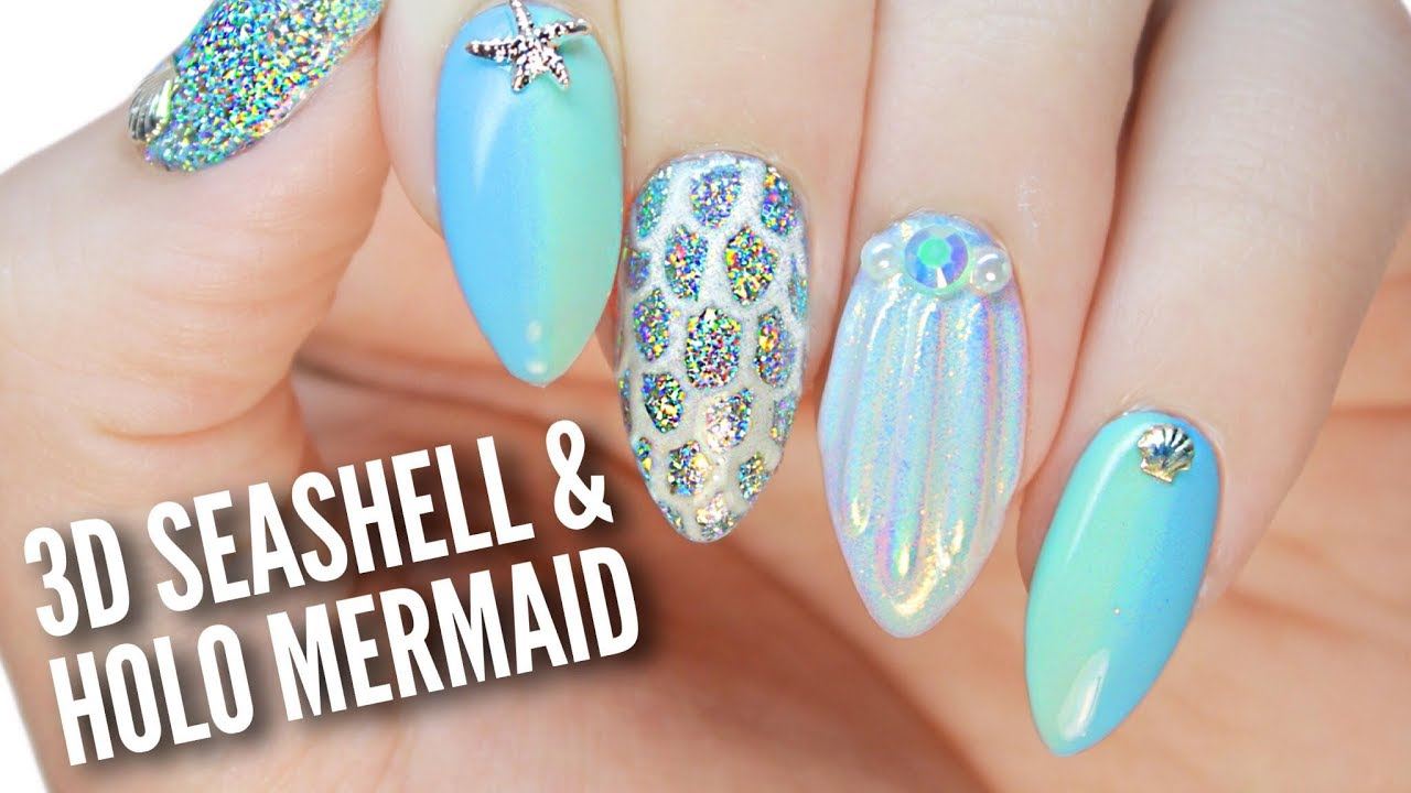 3D Seashell & Holo Mermaid Nails!