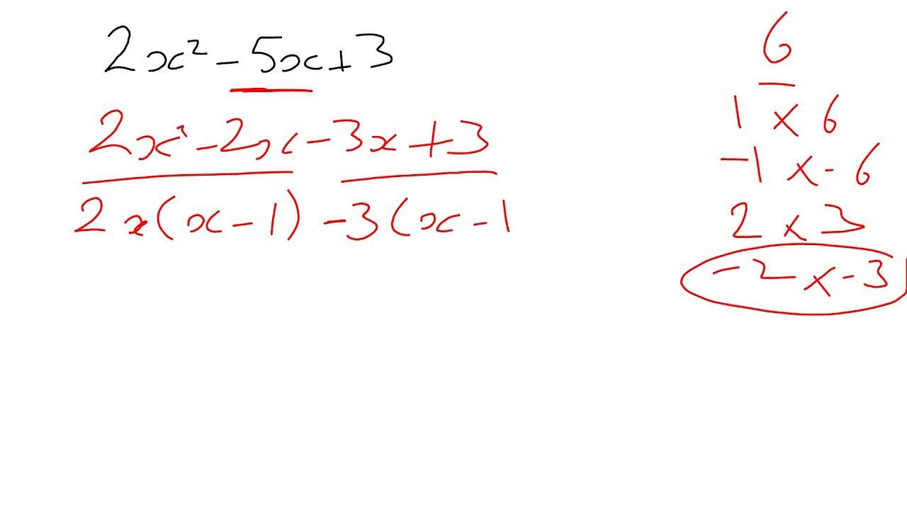 Factorising Quadratics Where The X Squared Coefficient