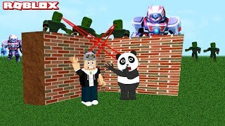 We're Building A Castle Against Zombies and Monster Robots!! Roblox Build & Survive with Panda!