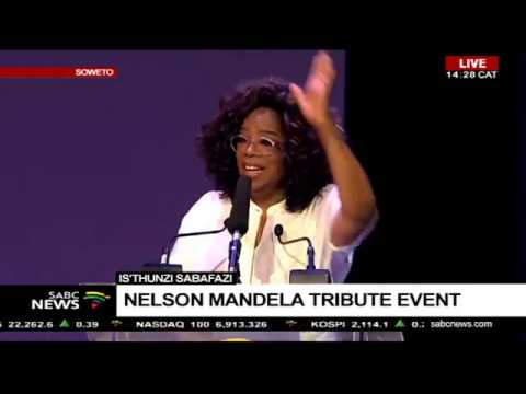 Oprah Winfrey delivers a keynote address at Is'thunzi Sabafazi event