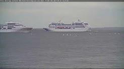 CUXHAVEN LiveCam Video - Kreuzfahrtschiffe - PACIFIC PRINCESS meets EUROPA - 27.7.2017