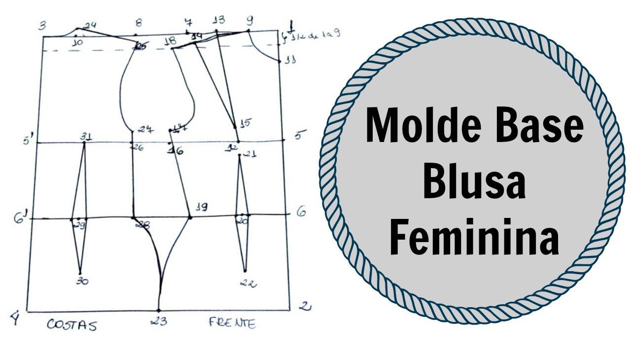 9a7e9e54f4 Como fazer molde base de blusa feminina