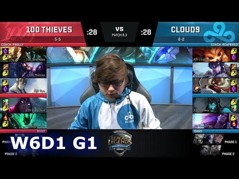 100 Thieves vs Cloud 9   Week 6 Day 1 of S8 NA LCS Spring 2018   100 vs C9 W6D1 G1