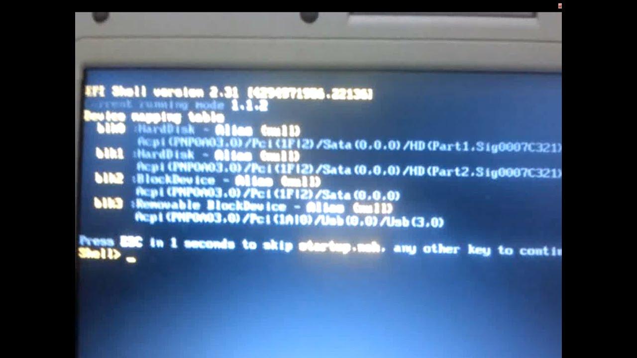 Arreglar canaima se queda en efi shell version 2 31