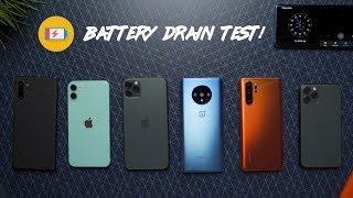 iPhone 11 vs OnePlus 7T vs iPhone 11 Pro Max vs P30 Pro vs Note 10+ Battery Drain Test!