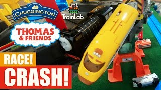 TrackMaster Super Station and Pirate Ship racing! Huge crashes with Hiro and Action Chugger trains!