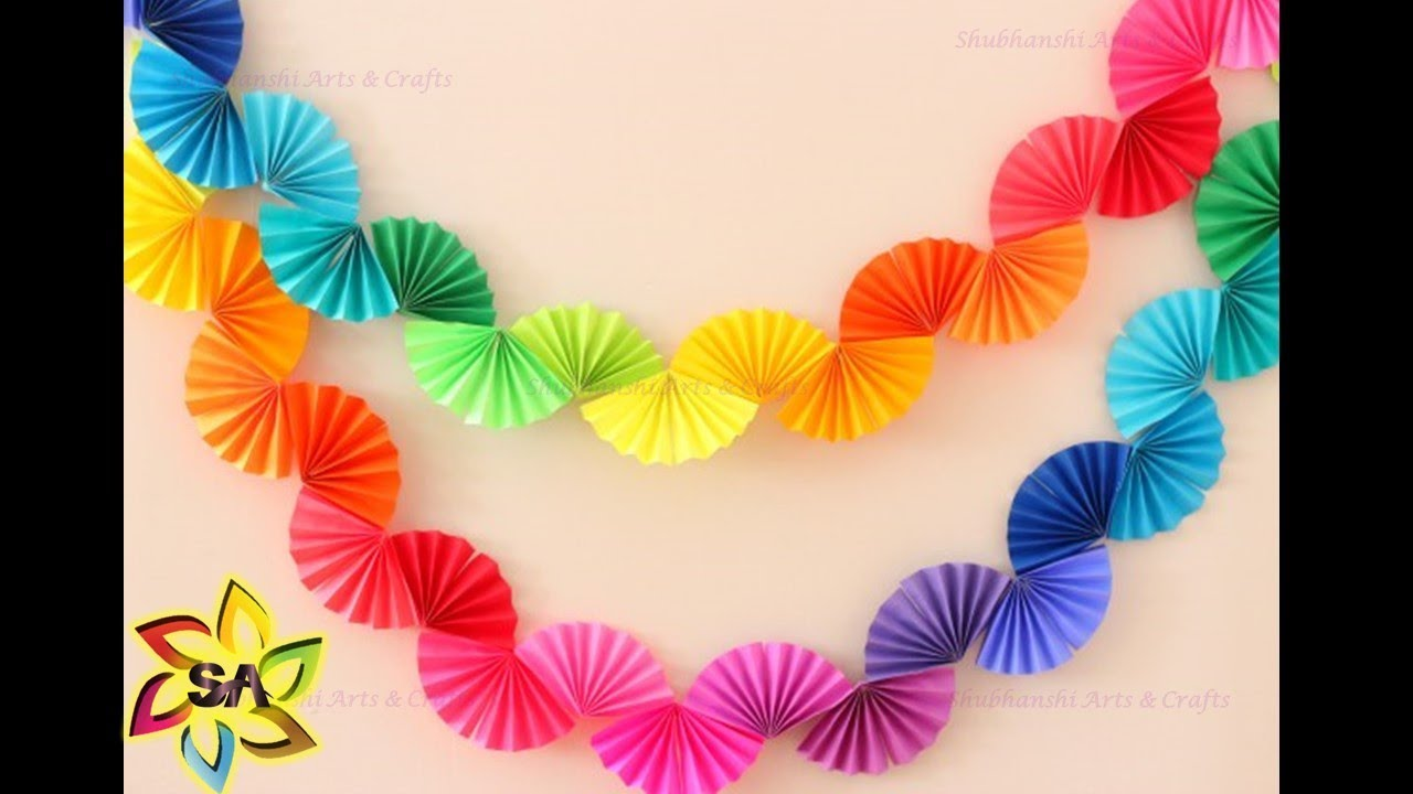 Christmas Decor - DIY Paper Rainbow Fan Garland for Party ...