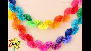 Christmas Decor  - DIY Paper Rainbow Fan Garland for Party Decor | Paper Craft decoration idea