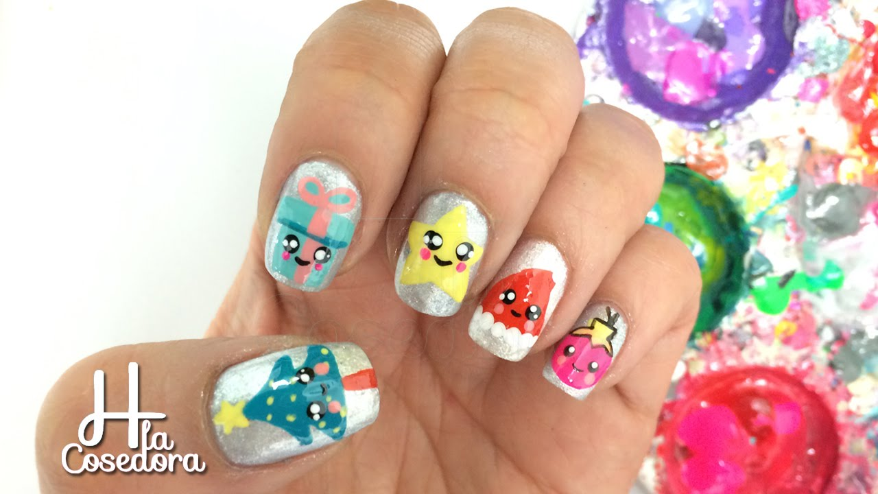 Decoracion de u as kawaii navidad christmas kawaii nail for Decoracion de unas de navidad