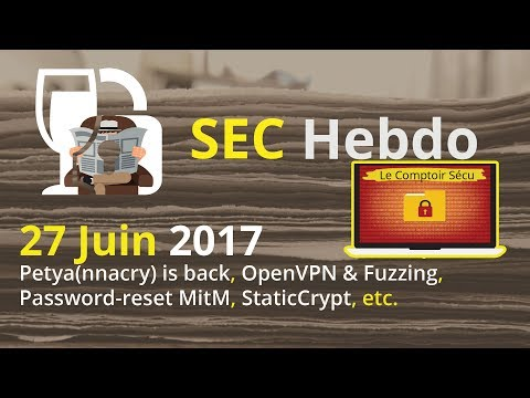 SECHebdo - 27 Juin 2017 - Petya(nnacry), OpenVPN & Fuzzing, Password-Reset MITM, StaticCrypt, etc