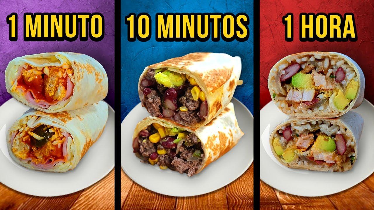 1 Min vs. 10 Min vs. 1 Hora Burritos ¿Cuál eliges tu? 🌯
