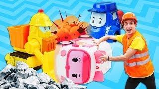 Видео про игрушечные машинки. Робокар Эмбер помогает строить дорогу!