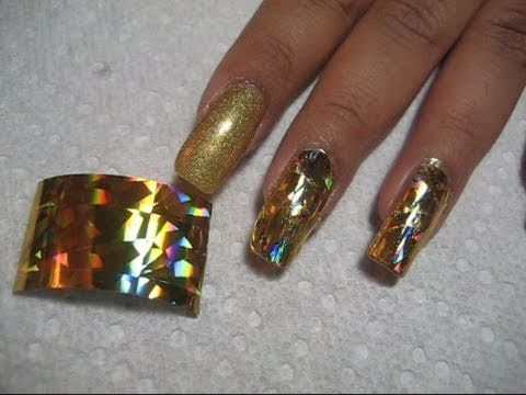 Holographic Gold Nail Foil Application | DIY Nail Art Tutorial thumbnail