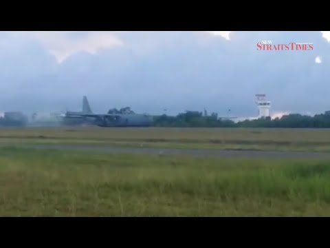 RMAF pilot forced to belly land C130 transport aircraft at Labuan airport