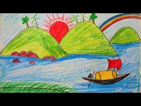 How to Draw Scenery of Mountain Summer Season for Kids ...