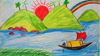 How to Draw Scenery of Mountain Summer Season for Kids | Drawing Mountain with River Scenery